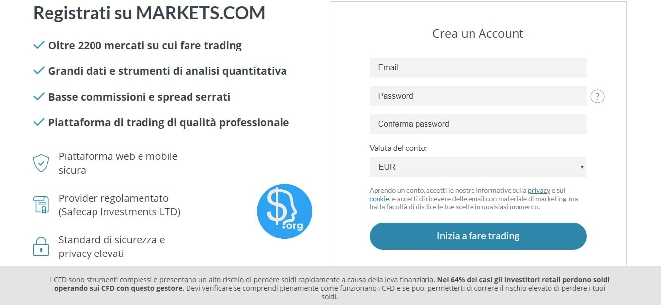 Markets.com strumenti finanziari