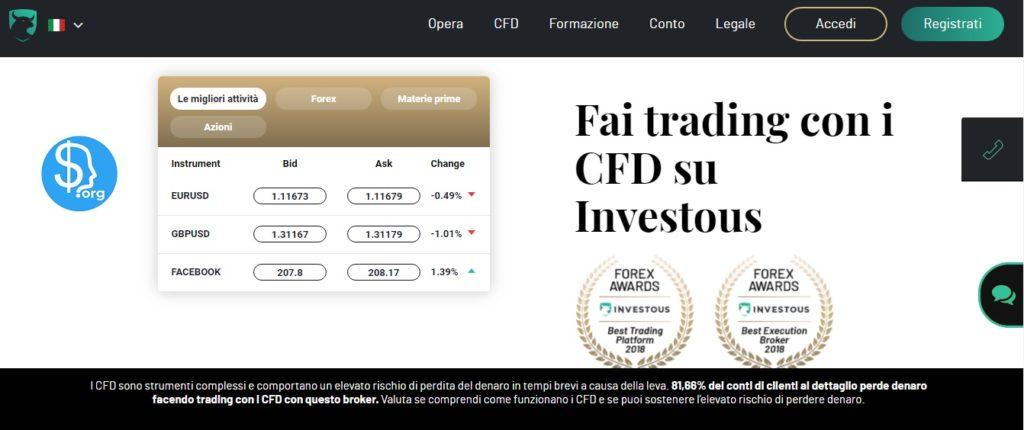 Home page del sito ufficiale Investous