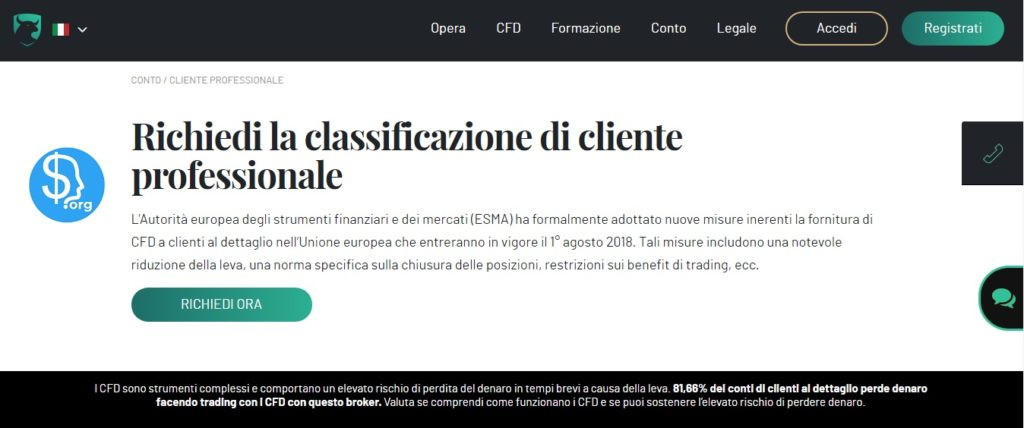 Classificazione del trader professionale su Investous.